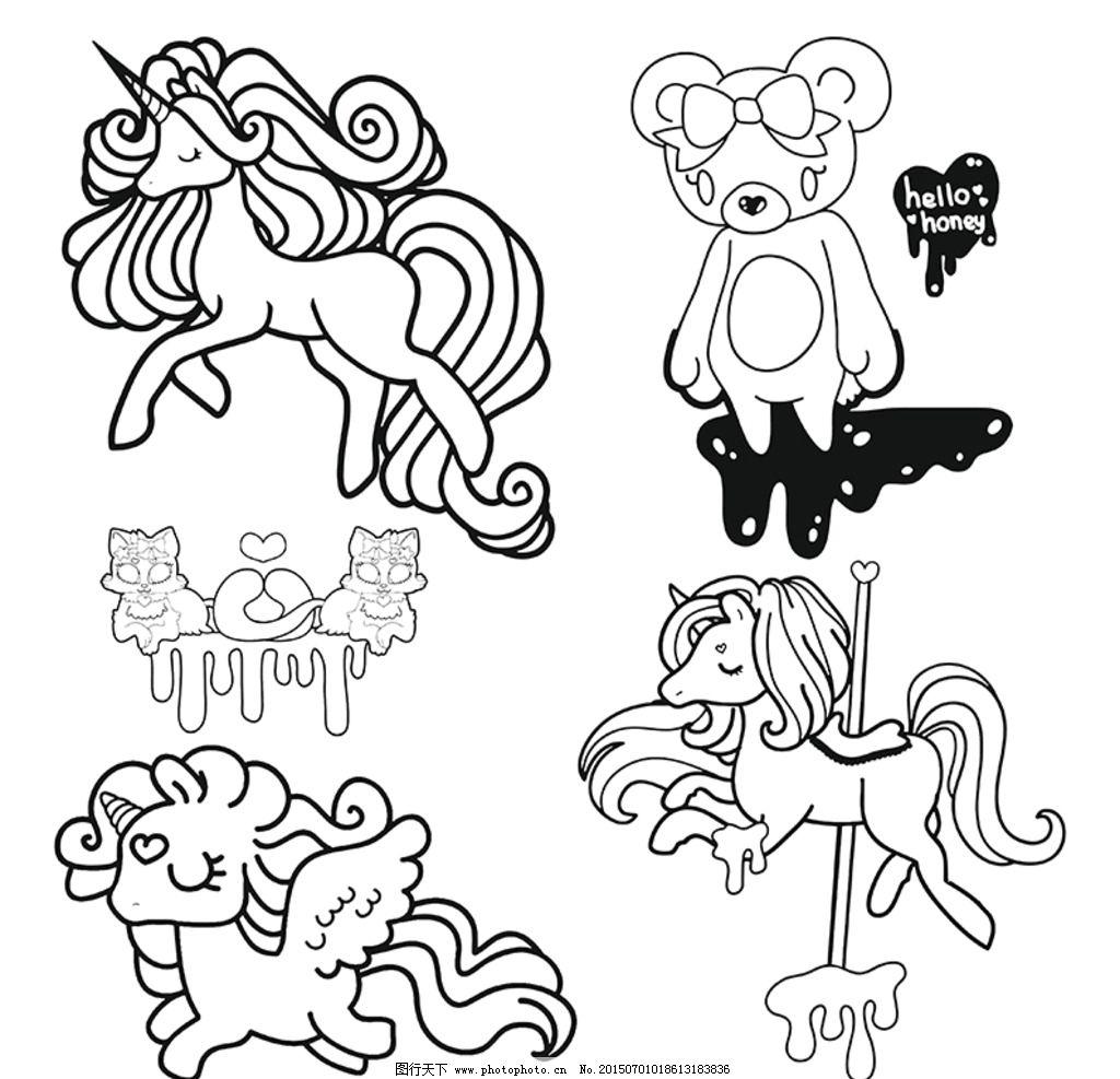 卡通猫咪 黑白线描图