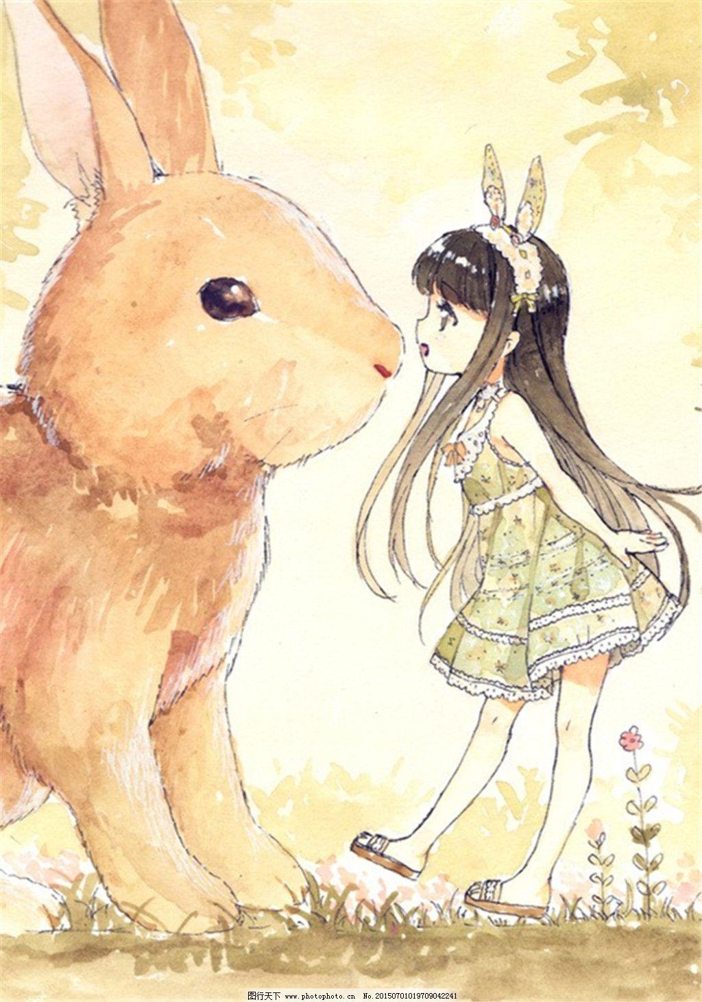 手绘插画 兔子 黄色