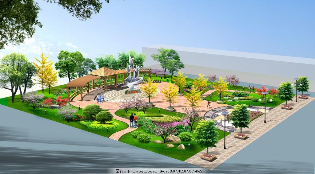 校园园林景观设计 校园景观 园林设计 木亭子花架 广场铺装 花池树池