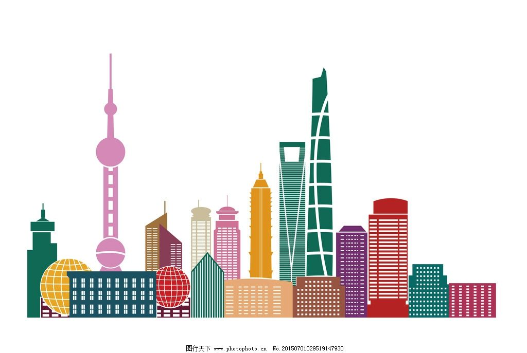 上海城市 建筑剪影 城市 都市 高楼 大厦 东方明珠 轮廓线 楼宇 建筑