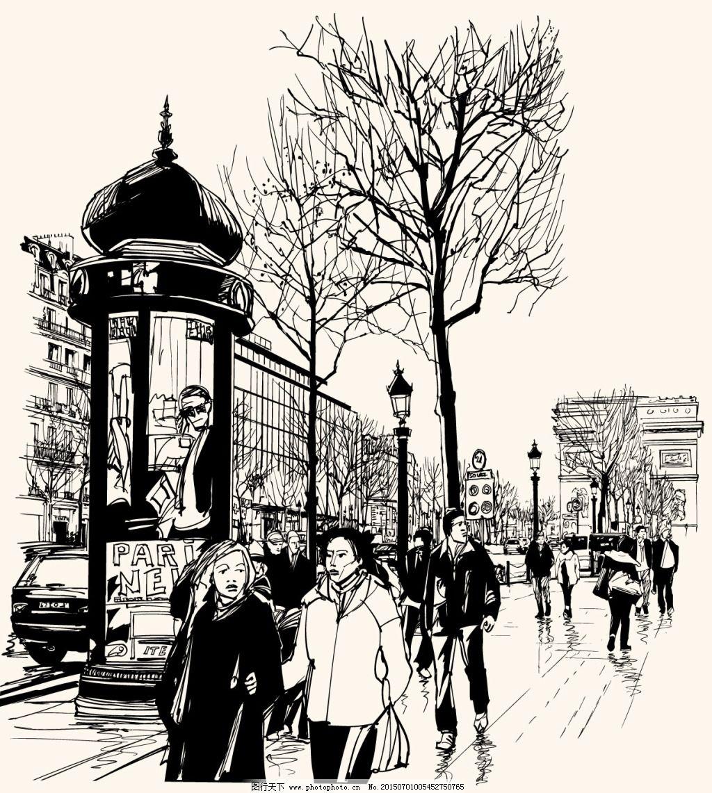 手绘人物和街景