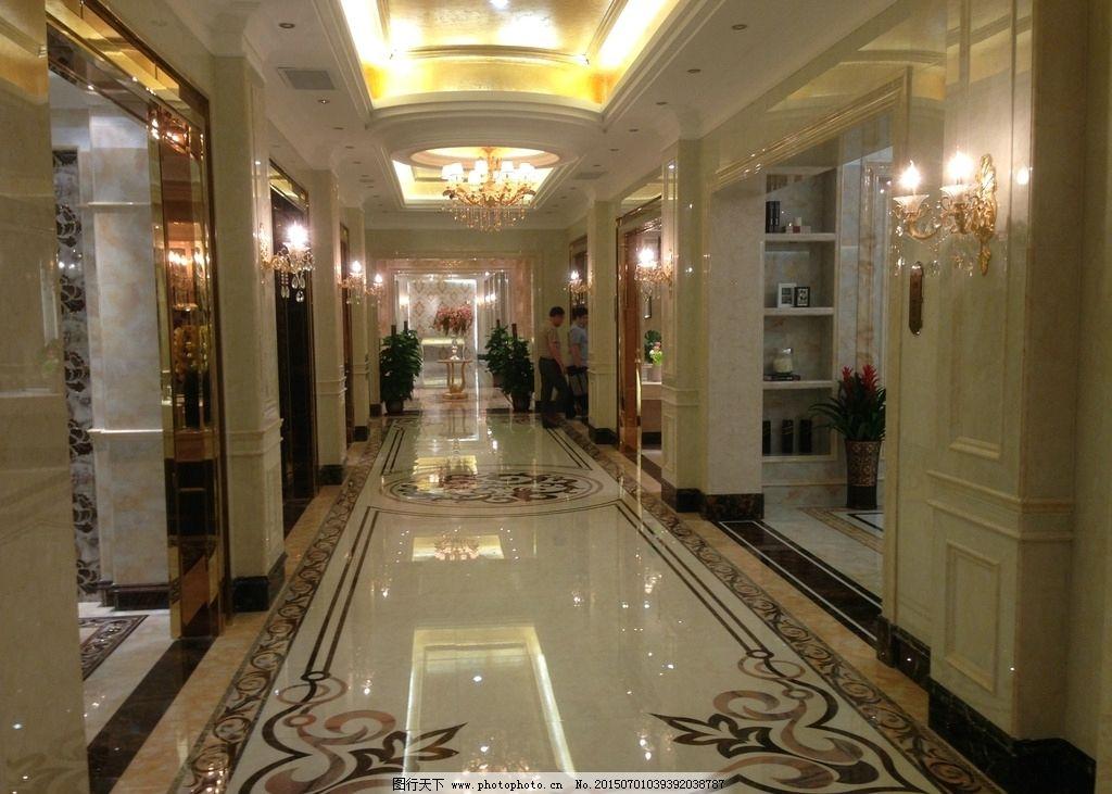 瓷砖展厅走廊 展厅通道 欧式风格 拼花地面 陶瓷展厅走廊 摄影 建筑图片