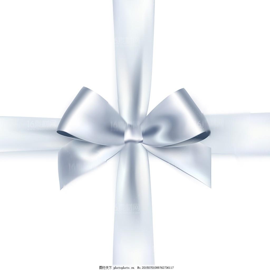 白色精美彩带蝴蝶结设计矢量素材