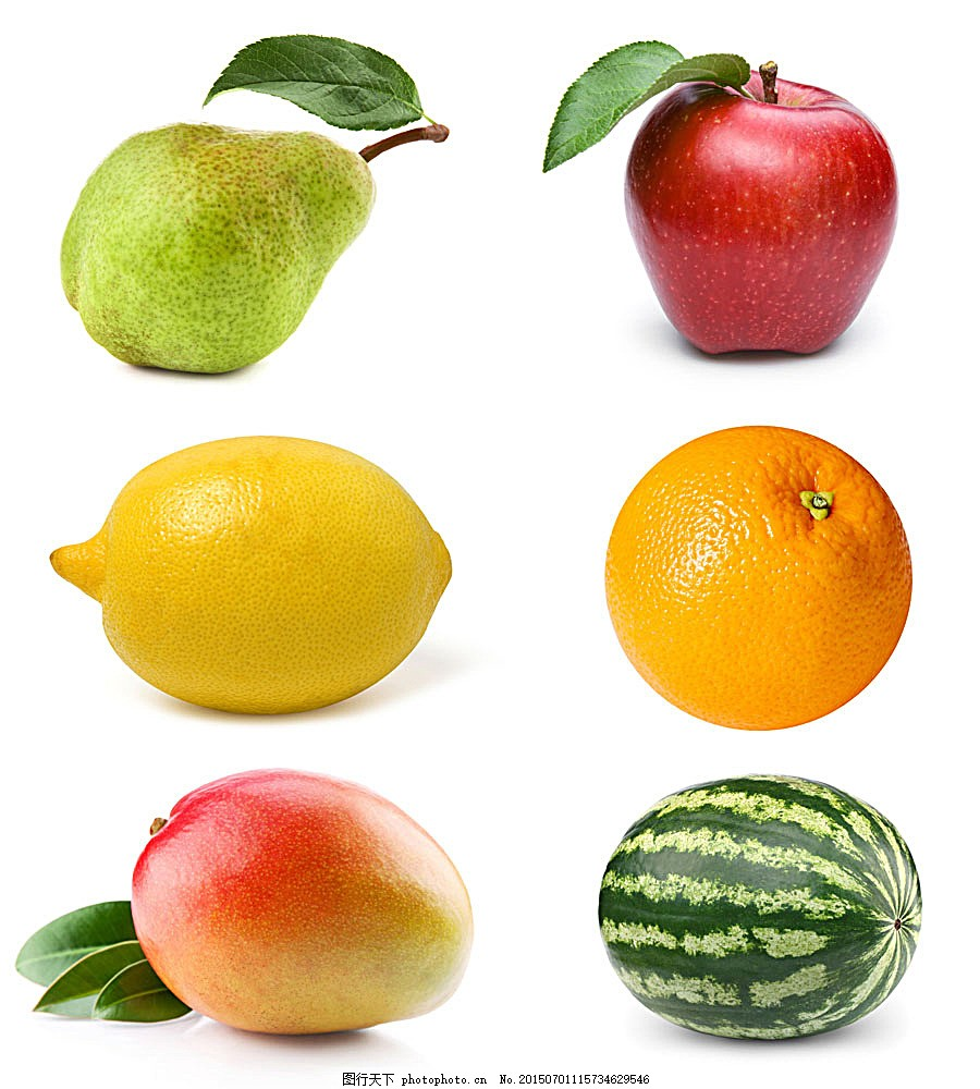 新鲜水果 果实 梨 苹果 西瓜 柠檬 橙子 水果蔬菜 餐饮美食 图片素材
