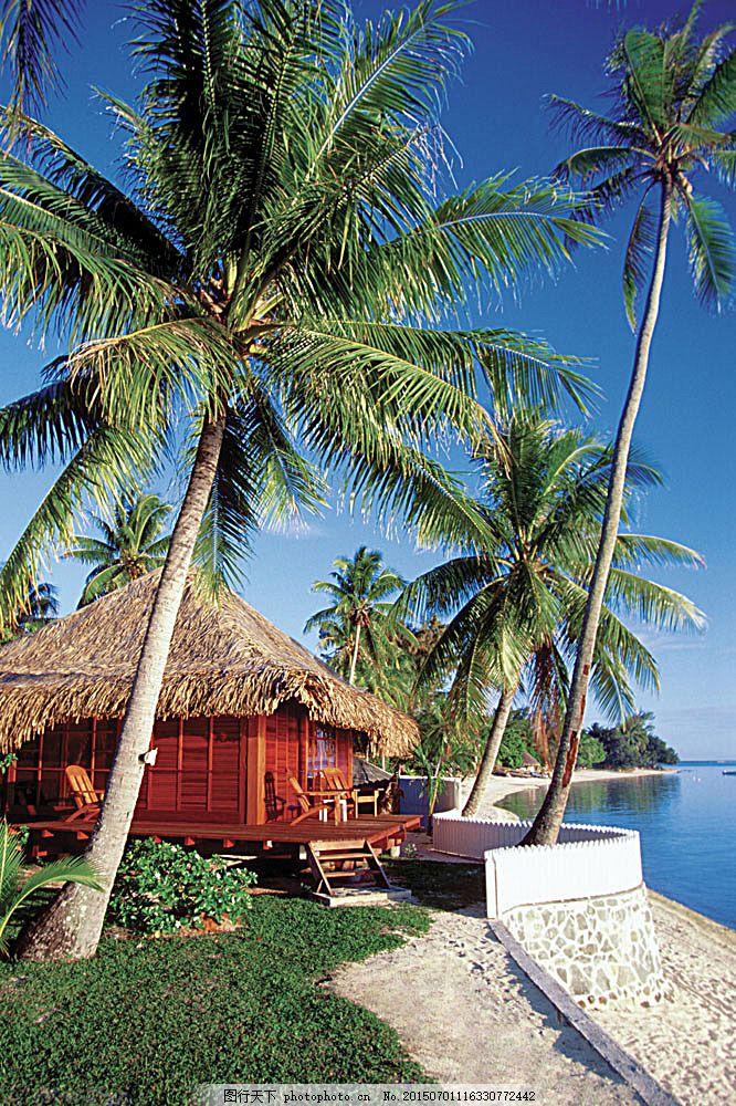 美丽海边度假村 美丽海滩 海边风景 太平洋 海岸风光 蓝天白云
