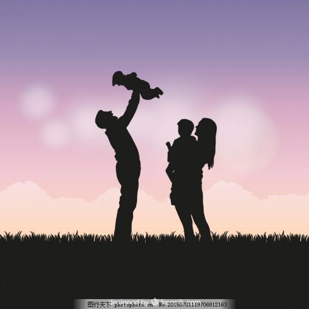 家庭剪影图片