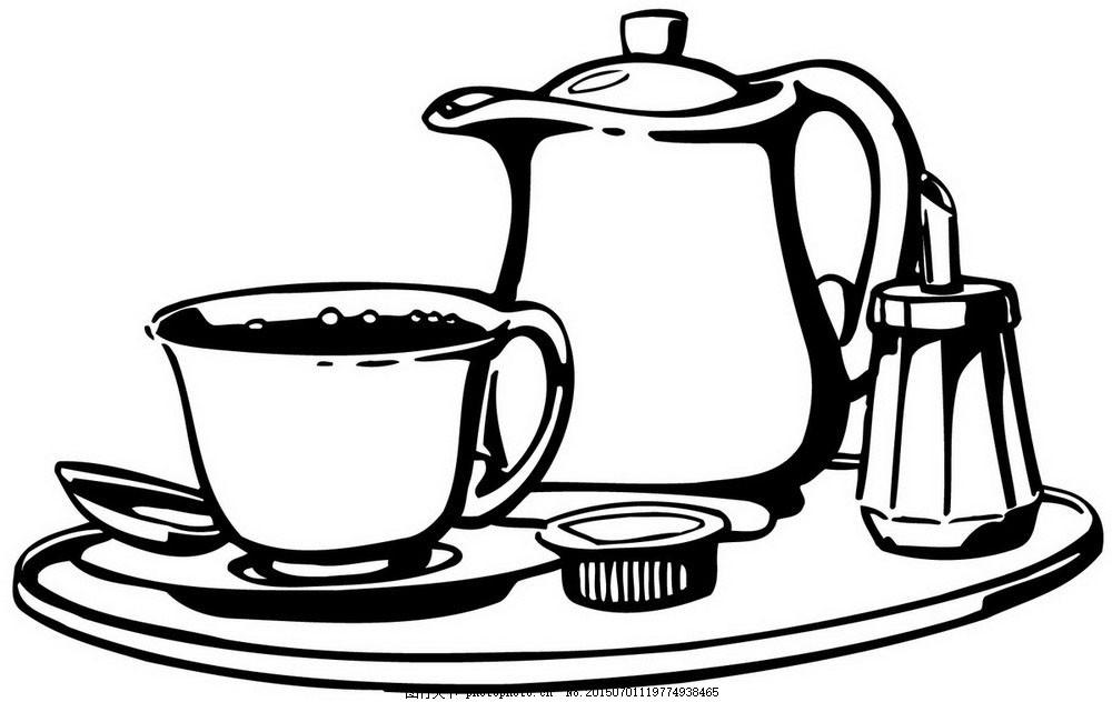 下午茶线描 黑白线描 茶壶 茶杯 白色