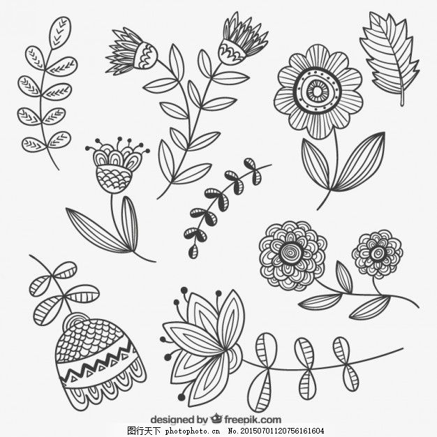 手绘花卉 花 手 春天 手绘 树叶 植物 绘画 手工绘图 百花齐放 春天的