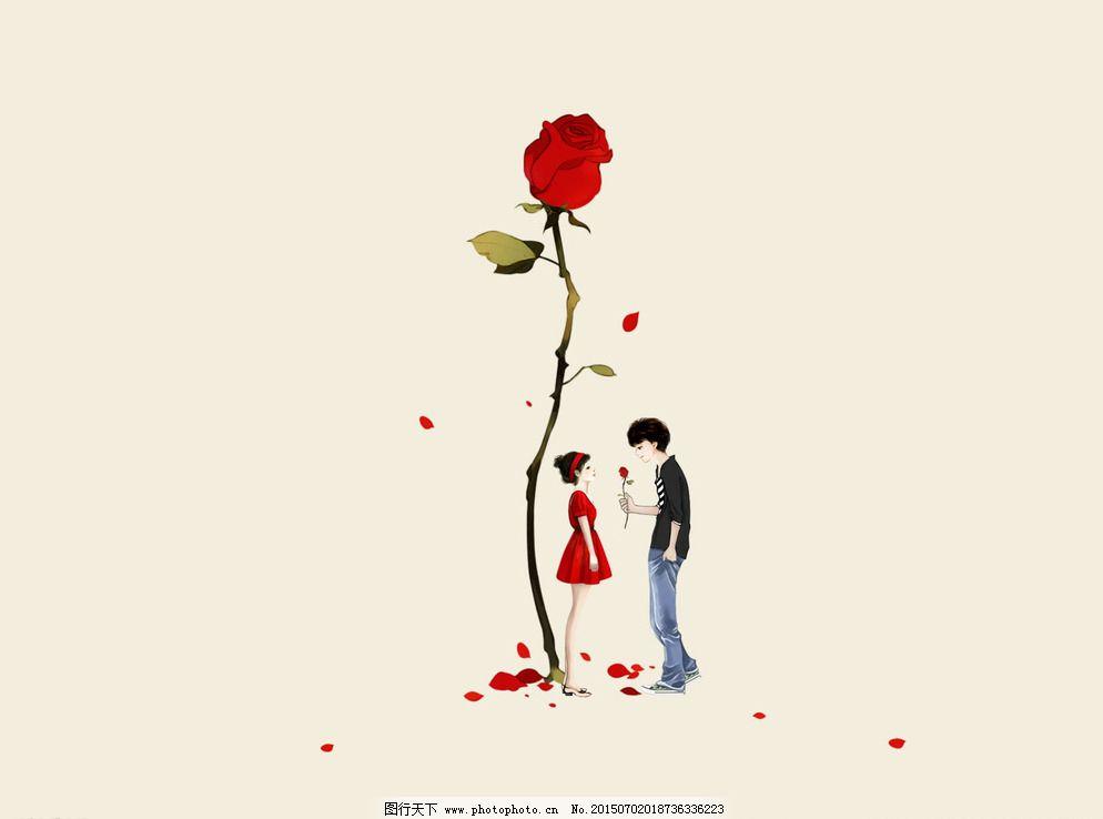 男孩女孩玫瑰花图片_可爱卡通_动漫卡通_图行天下图库