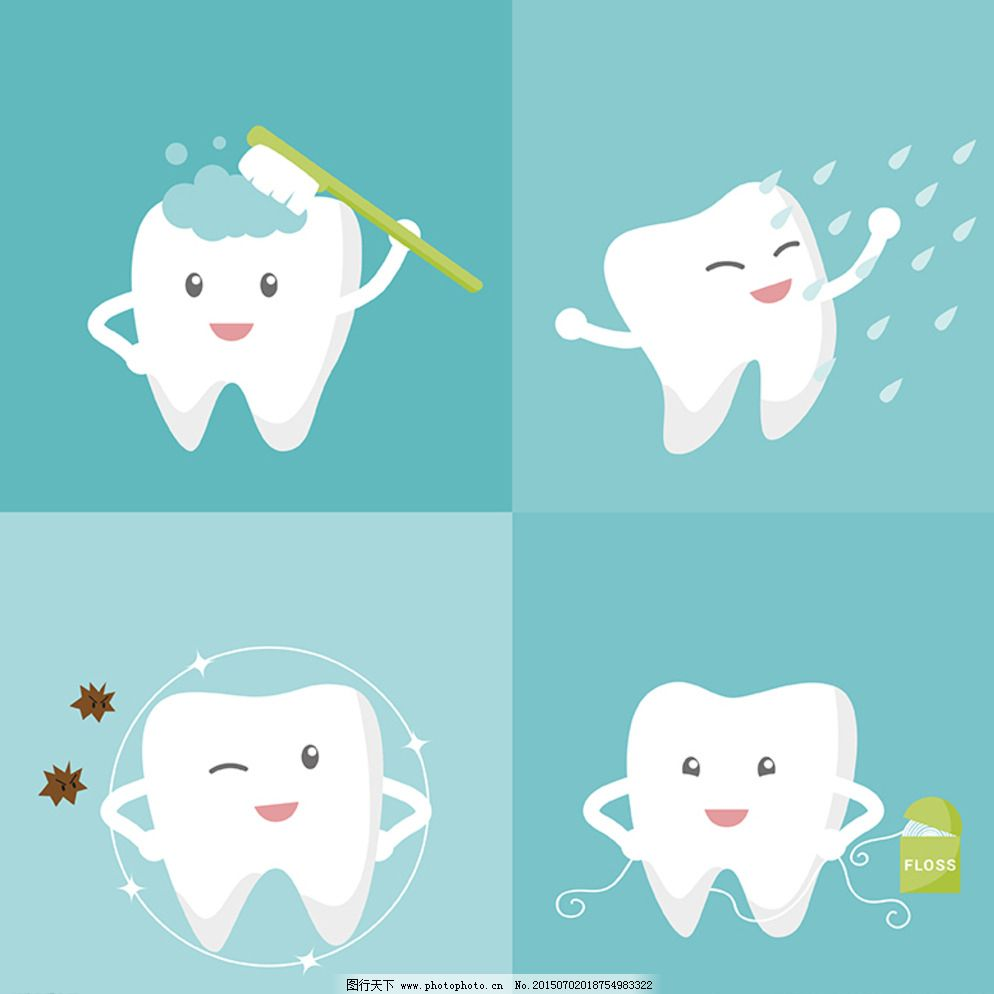 卡通牙齿护理矢量素材图片
