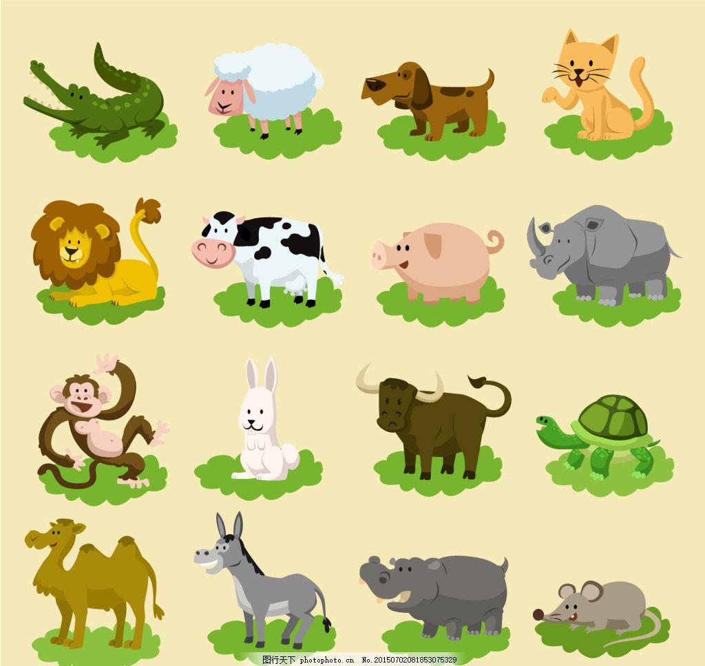 卡通矢量动物素材 卡通 矢量 动物 卡通动物 骆驼 乌龟 猫 狗 绵羊