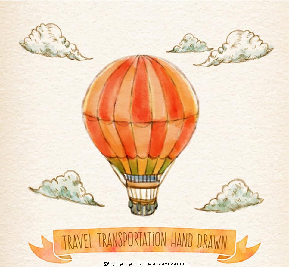 橙色热气球插画 交通工具 热气球 橙色热气球 手绘热气球 丝带 条幅
