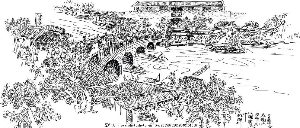 矢量图 古代绘画 古代街景图 古代集市 集市线条图 市井图 古代市井图