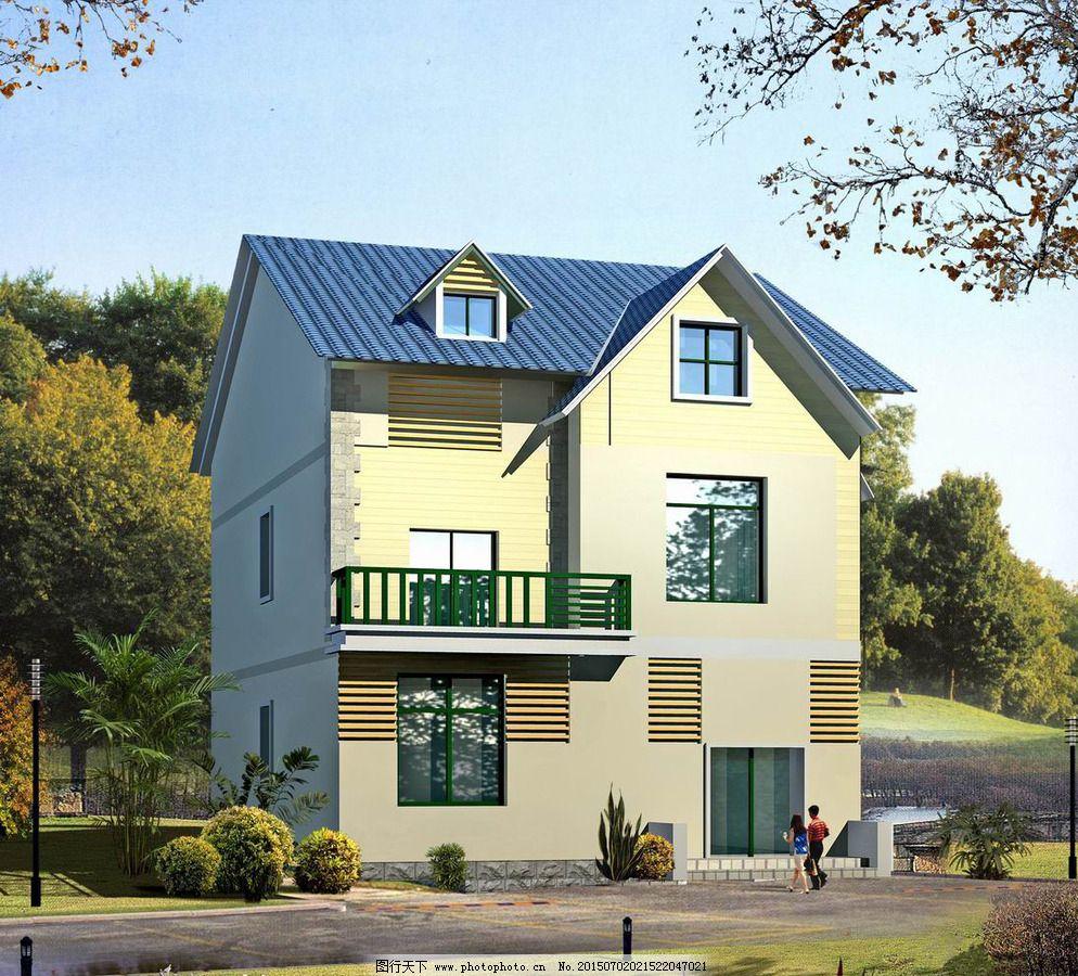 别墅 设计 外观效果图 住宅 三层新农村 别墅 住宅 盖房子 外观效果图