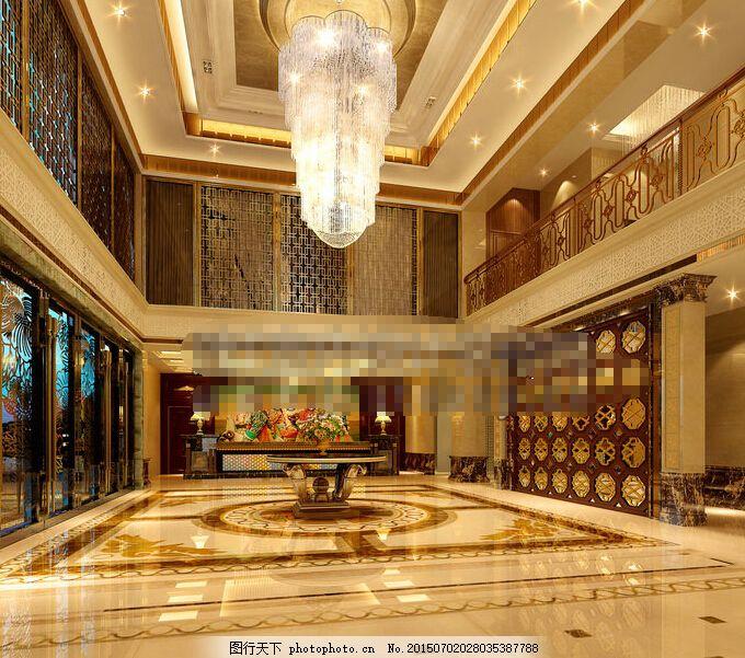 酒店大堂效果图 酒店效果图 欧式酒店 酒店大堂3d max 棕色