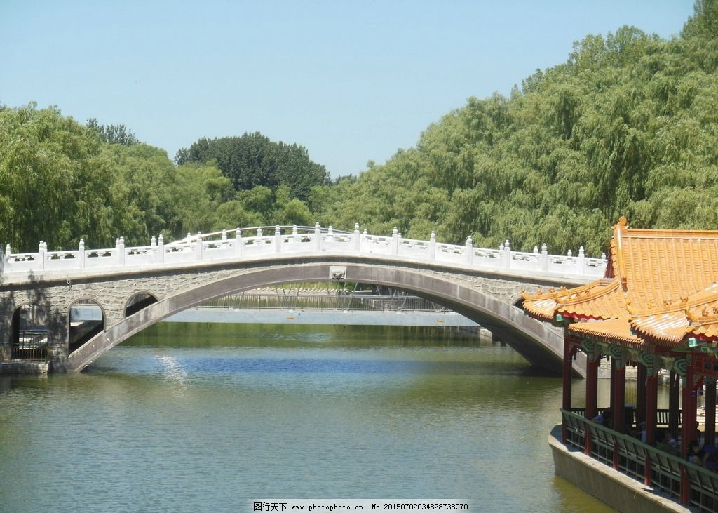 风景图 蓝天 天空 白云 水面 树木 倒影 小桥 石桥 自然风光 风景图
