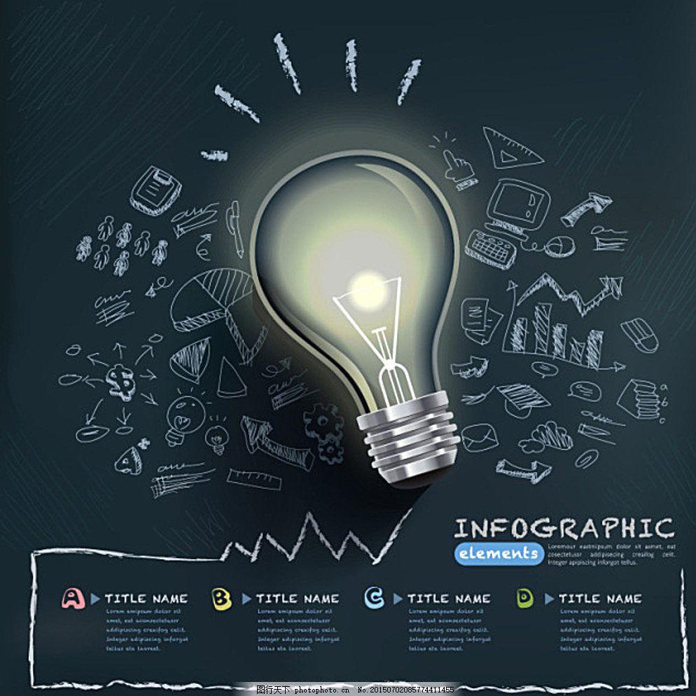 灯泡 手绘 黑板 发光 手写 海报 广告设计 黑色