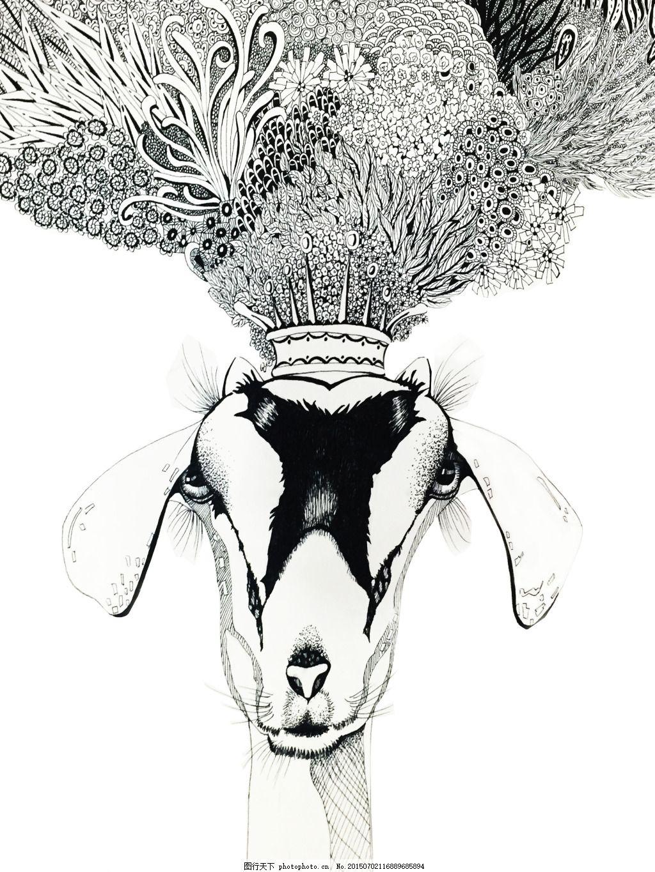 鹿手绘 线描 黑白 动物 植物 手绘     白色 jpg