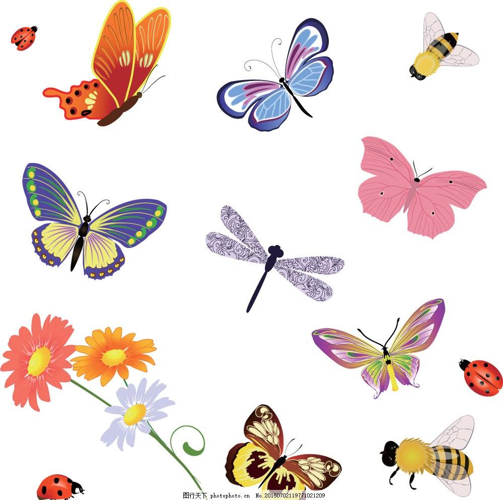 蝴蝶 彩色蝴蝶 蜻蜓 蜜蜂 手绘 昆虫 翅膀 蝴蝶图案 生物世界