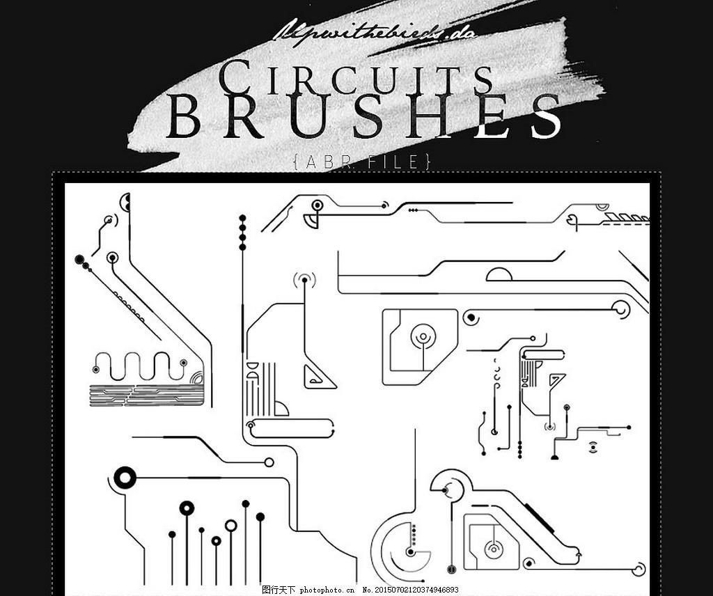 科技电路板纹理ps笔刷