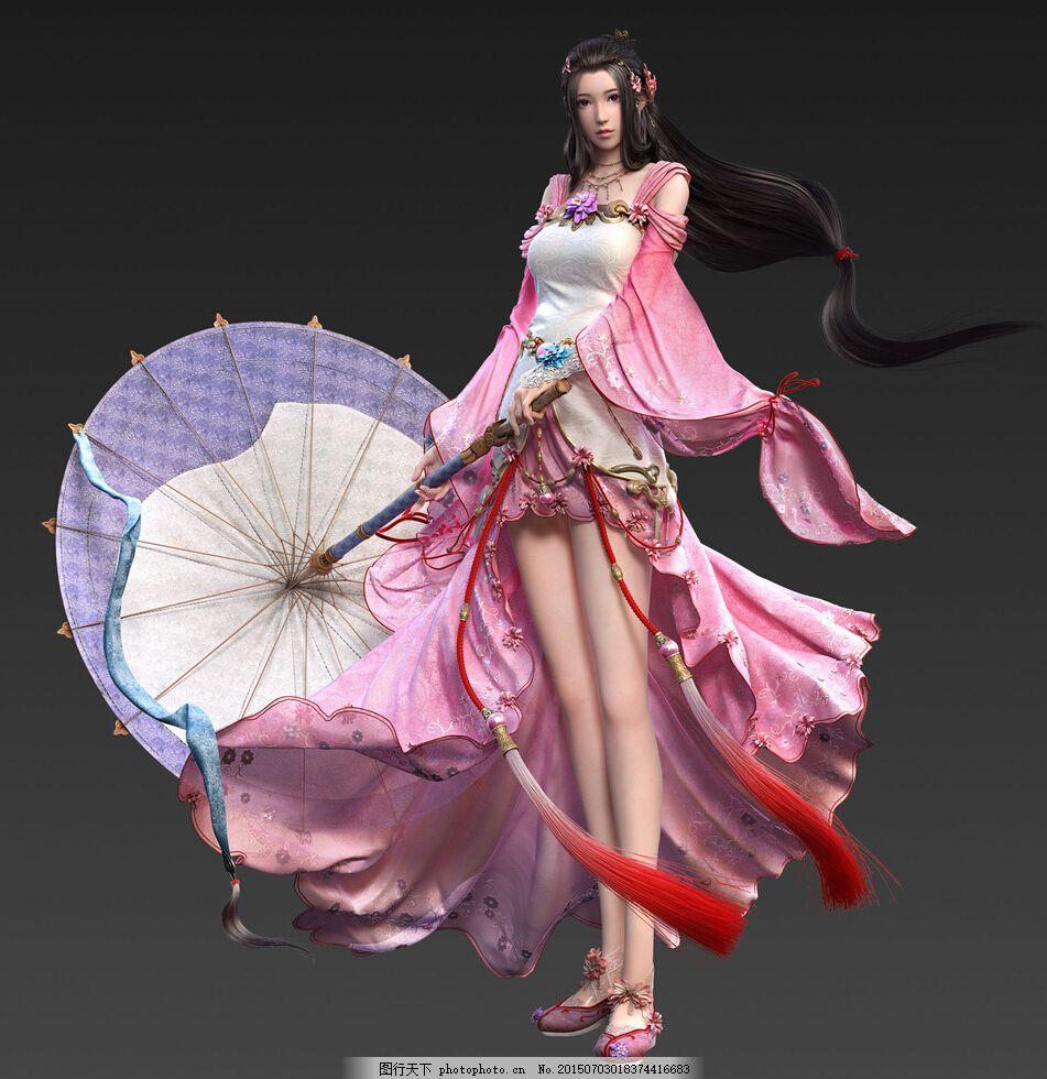 游戏美女原画 手绘 绘画 唯美 打伞 性感 角色 画风 古风 人物