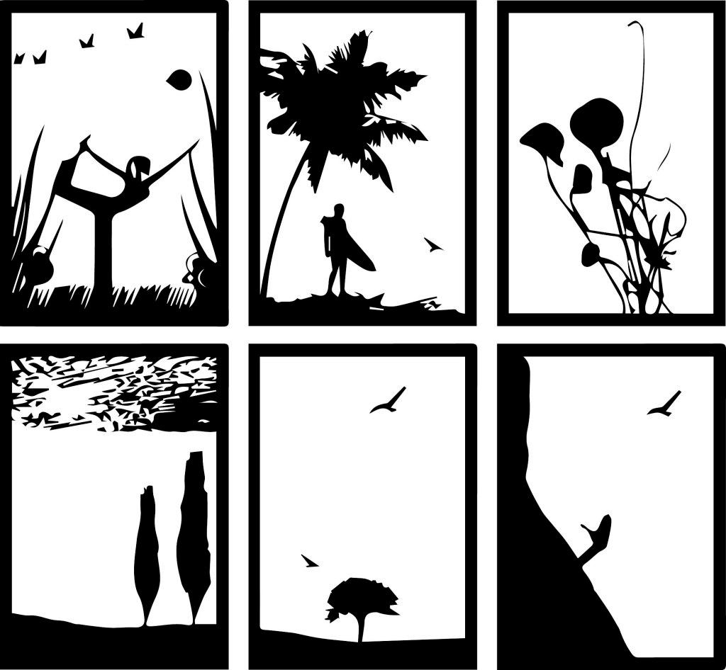 黑白装饰画 装饰画 人物 风景 植物 动物 底稿 黑稿 墙画