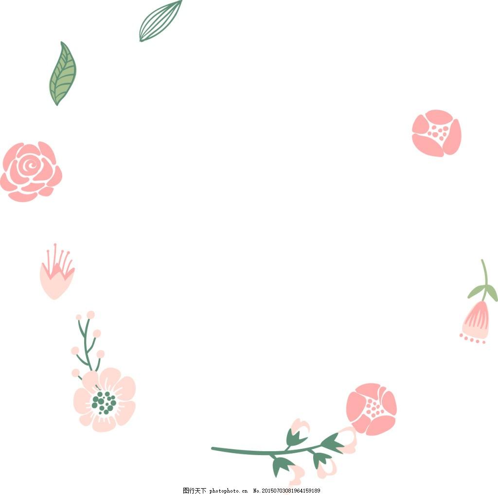 小清新粉红花朵素材