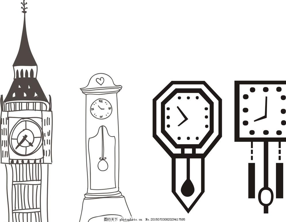儿童画 简笔画 黑白画 黑白素材 矢量 模型 矢量素材 生活用品 建筑