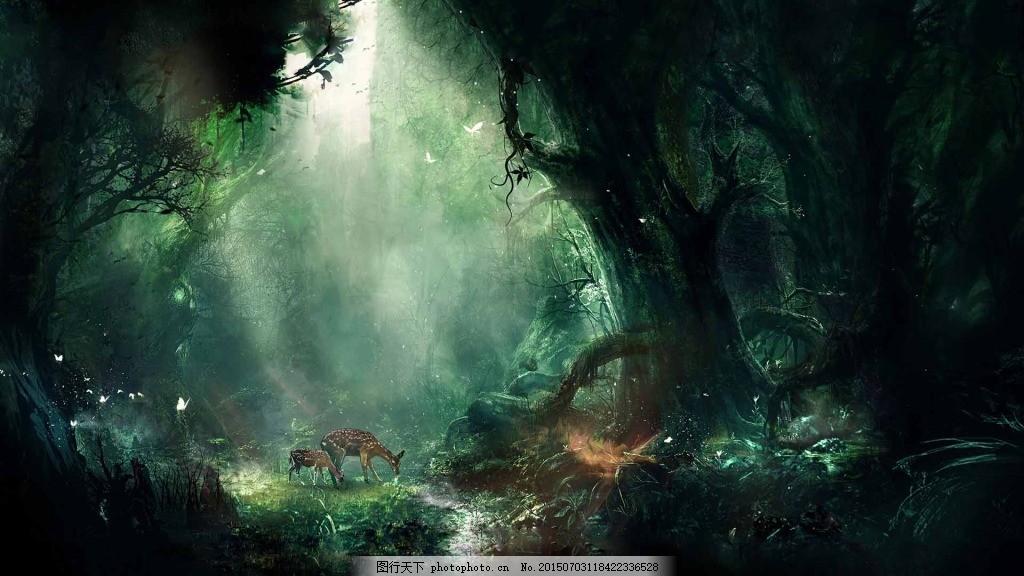 神秘梦幻森林 绿森林 童话森林背景 发光森林 神秘森林 淘宝主图模板