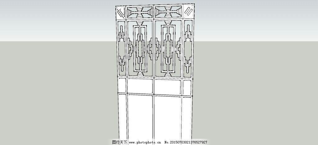 su铁门模型 镂空铁门 圆管 圆柱铁门