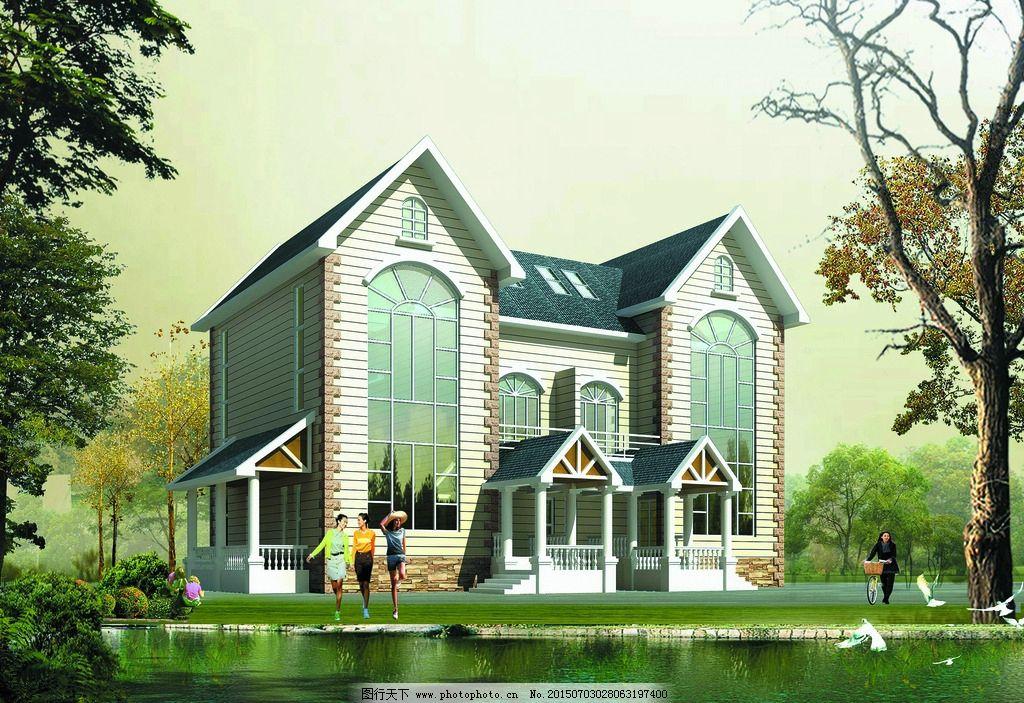 别墅外观 建筑造型 别墅设计 园林别墅 豪华别墅 花草 树林 树木