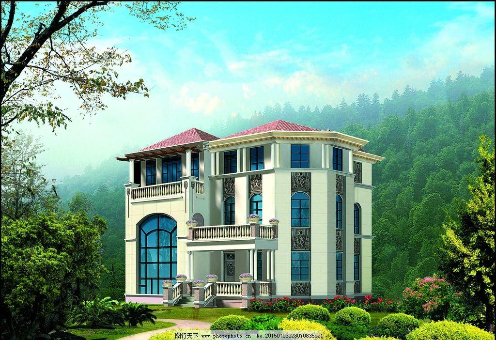 建筑造型 别墅设计 渡假别墅 别墅 山林 树木 花木 别墅外观集二 设计