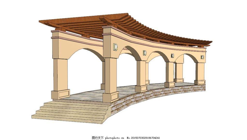 园林 景观 景观素材 条形欧式 skp 创意构架 弧形欧式 弧形欧式廊架