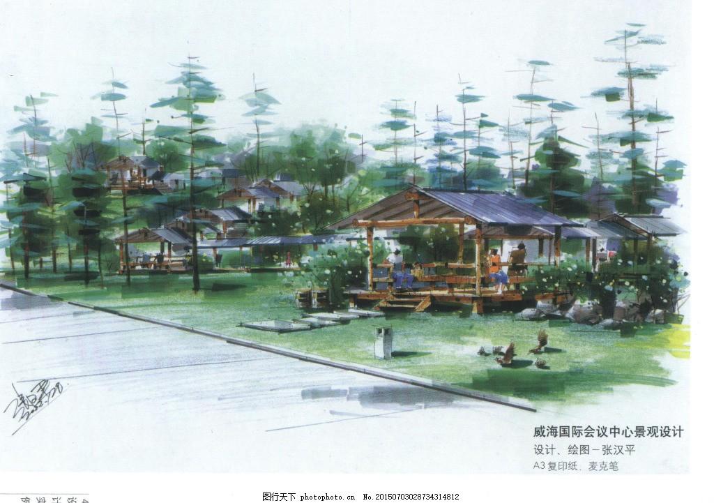 小广场手绘作品 风景 效果图 植物 亭子 马克笔 景观设计 大师作品