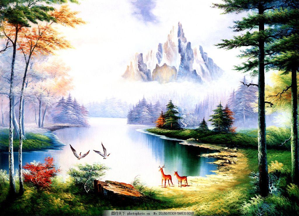 油画风景 油画 风景画 山水画 冰山 松树 白鹭 仙鹿     白色 jpg