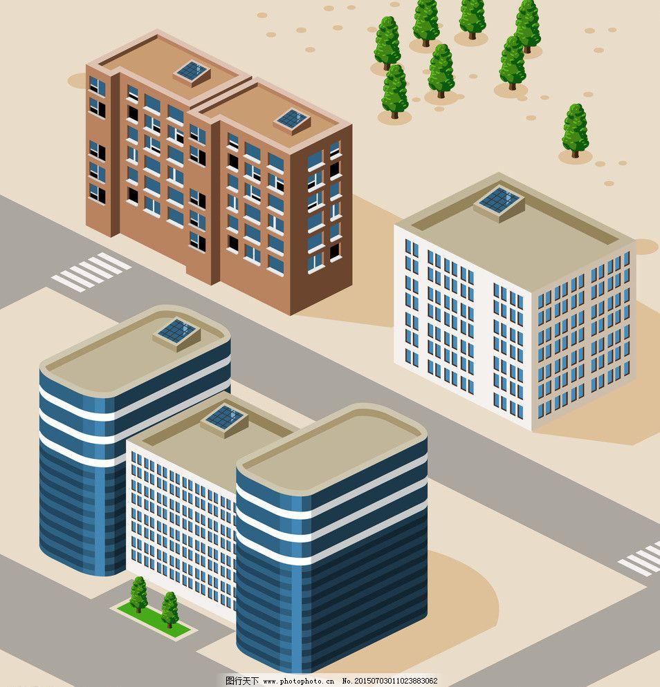 eps 别墅 场景图 城市 城市建筑 都市 房地产 房屋 房子 卡通城市建筑