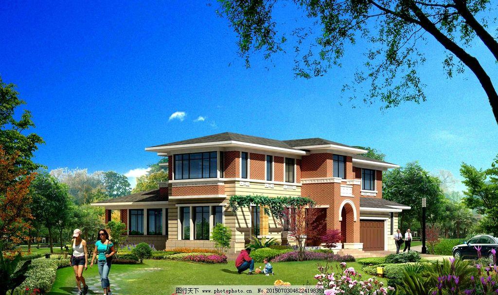 别墅外观 建筑造型 别墅设计 花园别墅 豪华别墅 花木 树木 草地