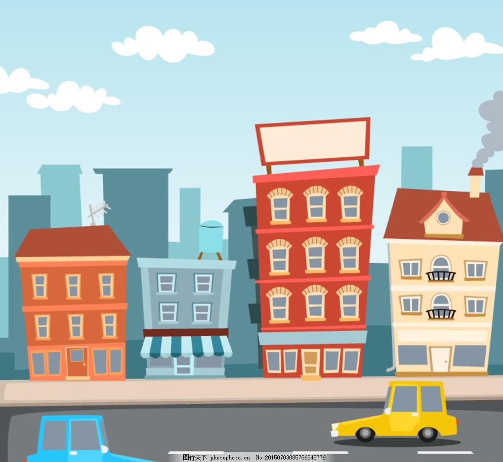 线条建筑 手绘建筑 建筑卡通 卡通建筑 房地产 名胜建筑 河边城市 滨