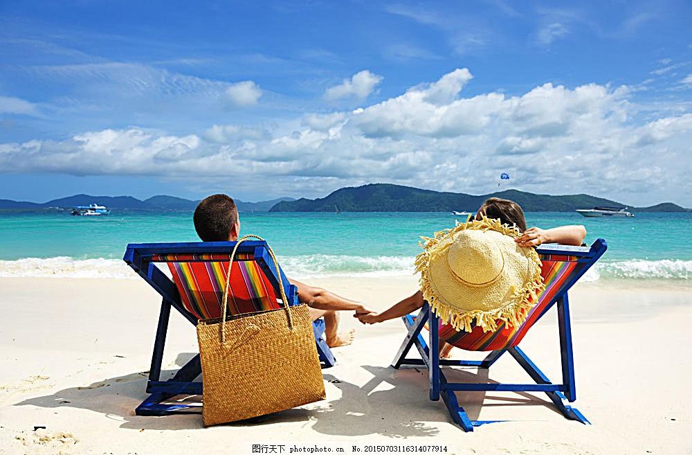 沙滩椅子上休息的情侣 蓝天 大海 海洋海边 自然景观 图片素材图片