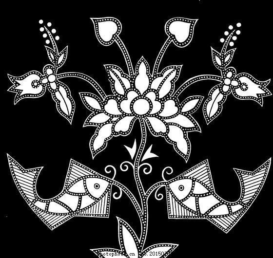 鱼虾纹样 传统图案 设计素材 动物图案 装饰图案 书画美术     黑色