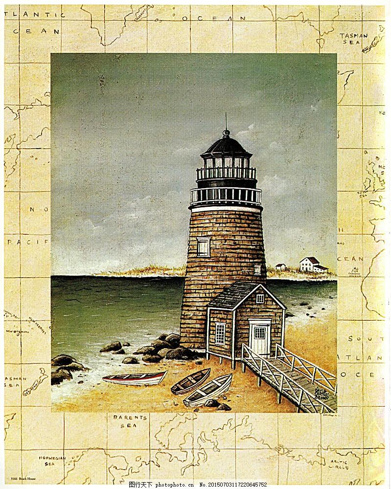 好看的灯塔油画图片 大海 灯塔 船只 手绘 插画 书画 国画 素描 涂鸭