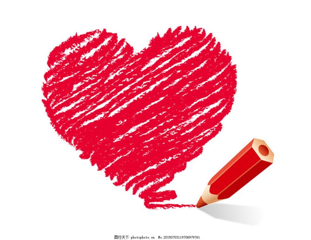 红色彩铅手绘爱心 心 彩铅 红色彩铅 手绘心 红心 红色彩绘心 矢量