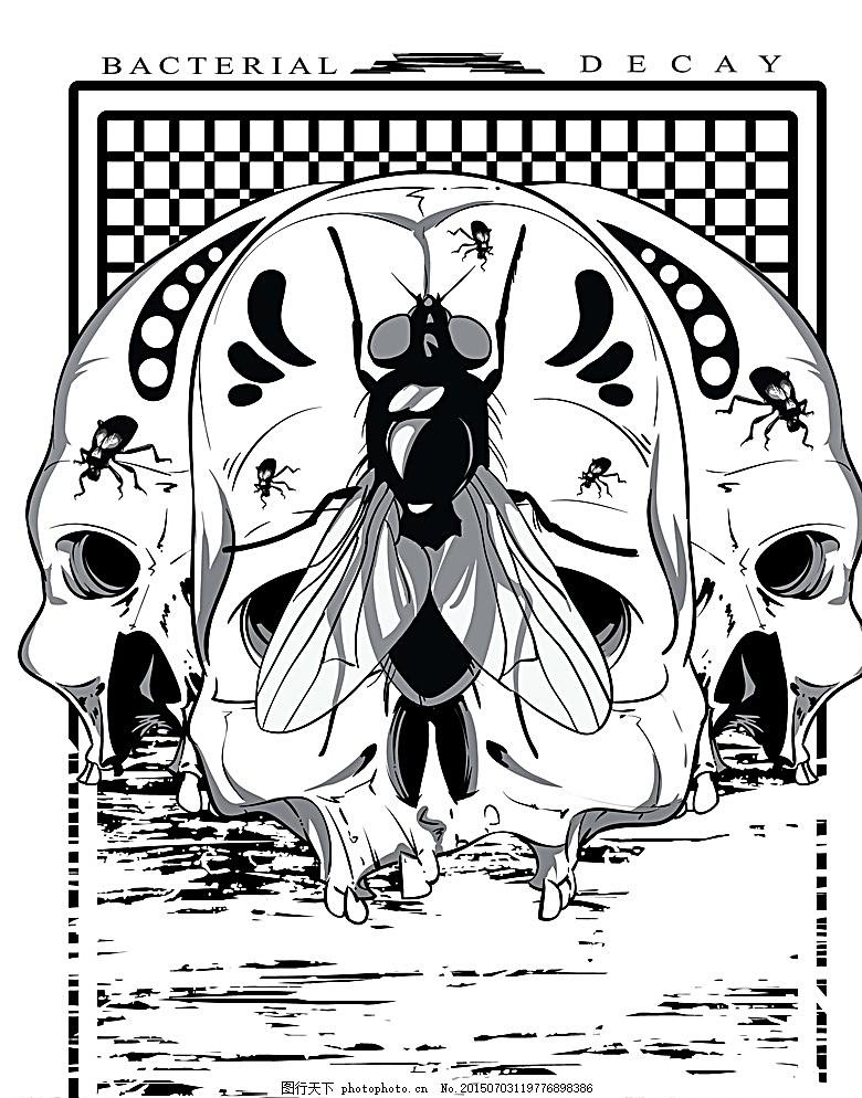 t恤图案 恐怖图案 骷髅 骨骼 手绘 服装图案 时尚 手绘插画