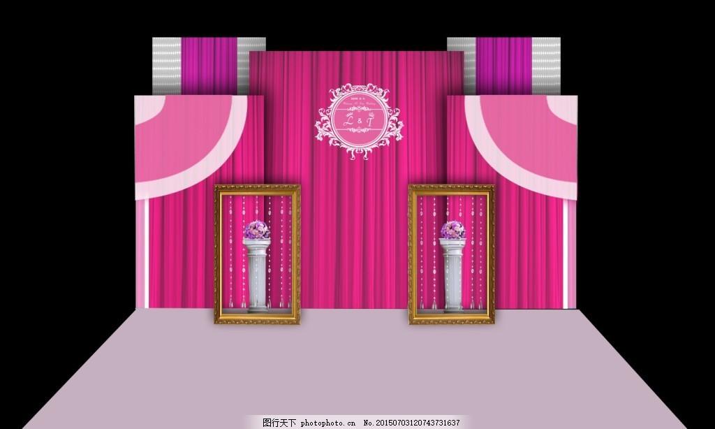 时尚唯美婚礼迎宾区 婚庆素材 婚礼设计 背景板 欧式花纹 舞台