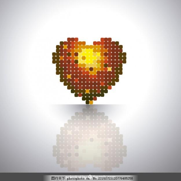 用圆形正方形做的心