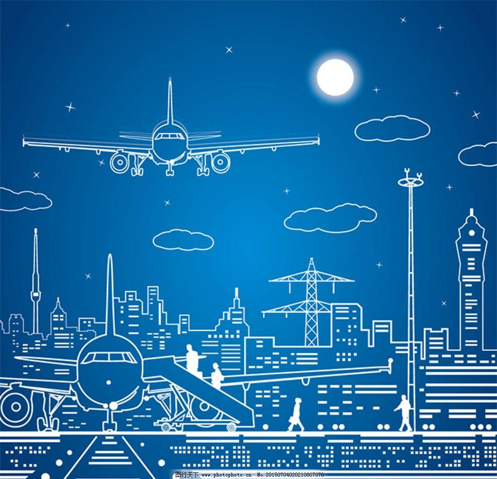 线条城市飞机图片
