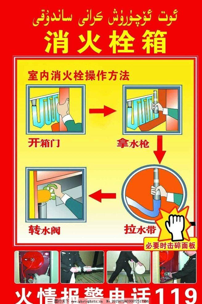 消火栓箱 消防 火栓使用方法 消火栓 防火 设计 广告设计 海报设计