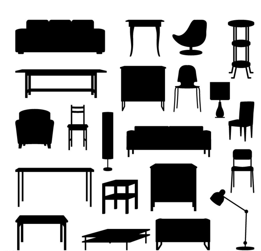 家具剪影矢量素材图片