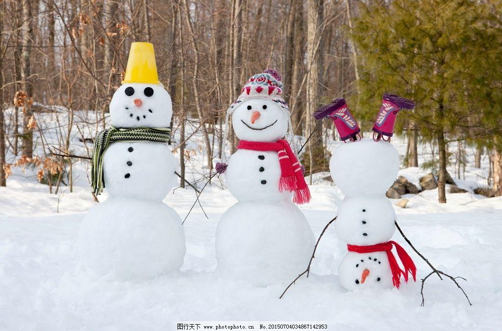 冬天雪人 冬天 雪人 小雪人 堆雪人 雪地 白雪 积雪 大雪 雪 树木
