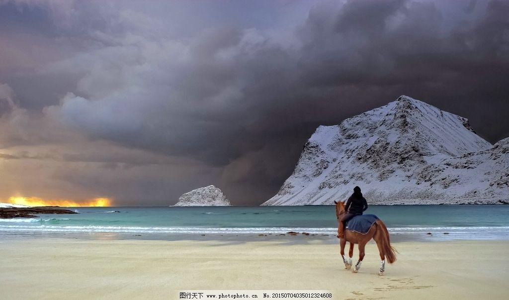 雪山海边图片_野生动物_生物世界_图行天下图库